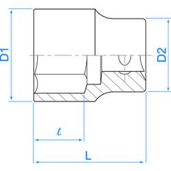 "Douille standard 1/2"" (12.7 mm) 6 Pans 4335"