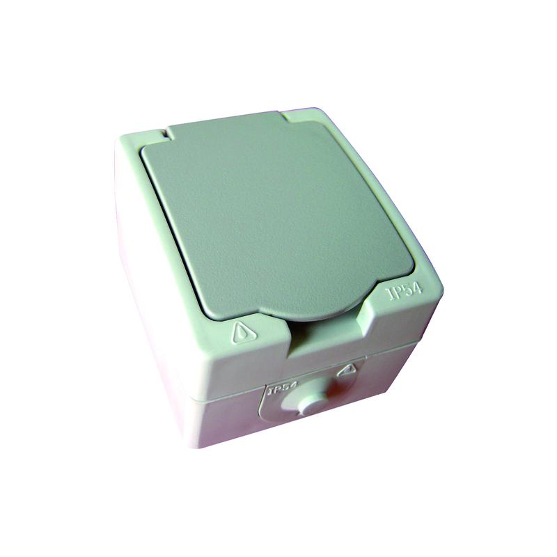 PRISE ELECTRIQUE 2P+T A VOLET PLEXO GRIS (BOX)