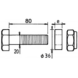 Boulon 20x80+bague ep27 adaptable SOMEGA e-méga