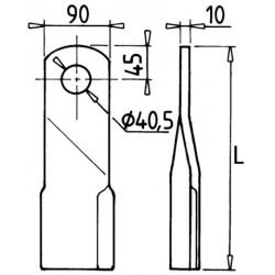 Lame Gyrobroyeur 90x10x320 mm diamètre 40 mm vrillée adaptable Lagarde
