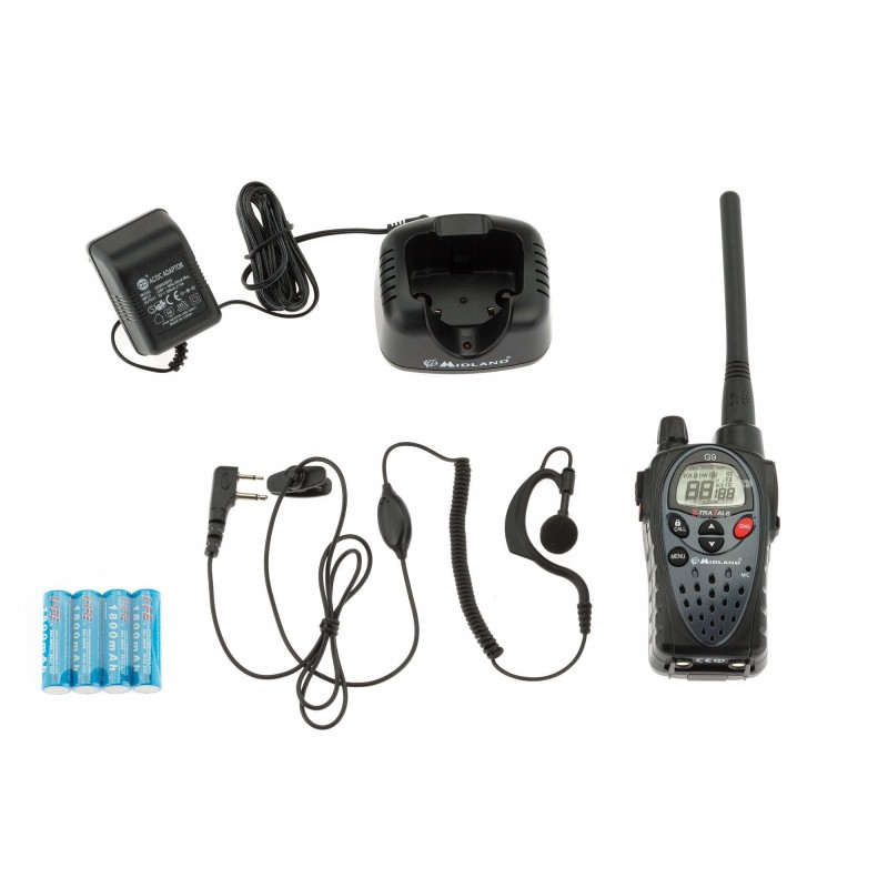 Talkie walkie Midland G9 noir et kit oreillettes