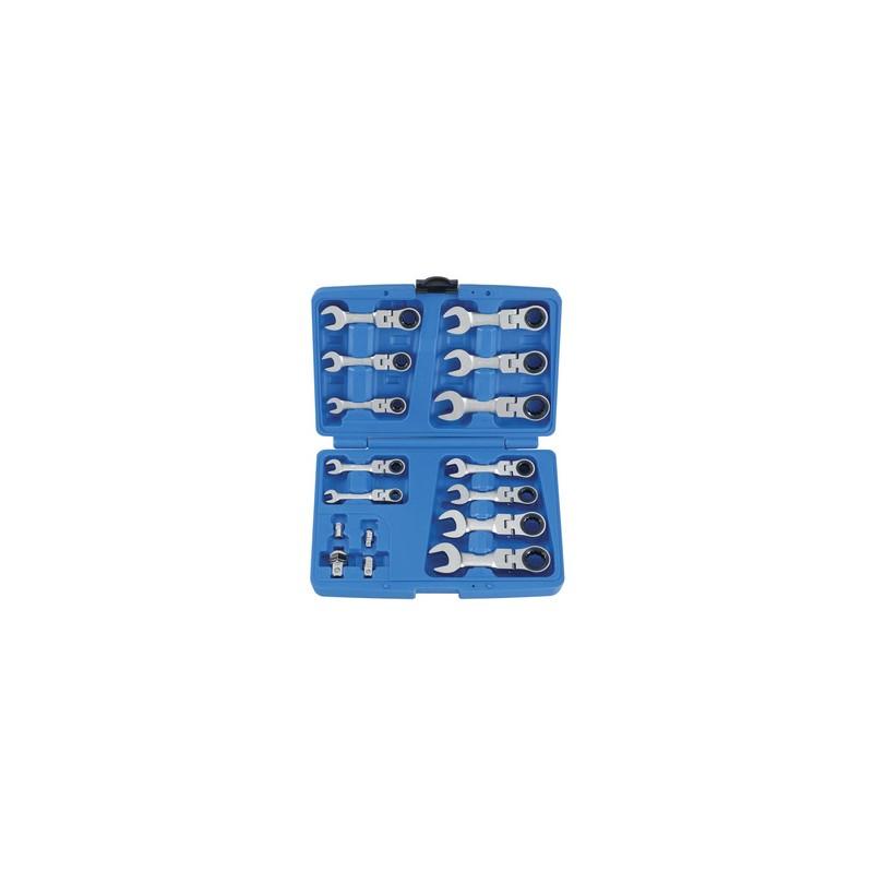 Coffret de clés mixtes à cliquet courtes tête articulée métriques av - 13316mr