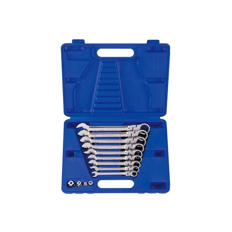 Coffret de clés mixtes à cliquet tête articulée métriques avec adaptateurs - 13013mr