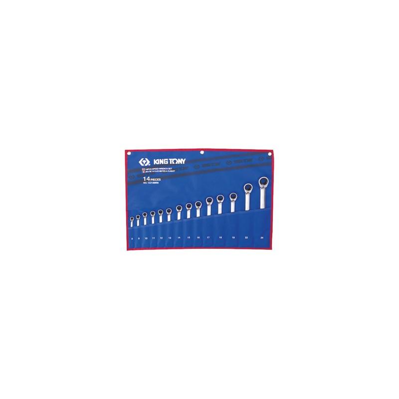 Trousse de clés mixtes à cliquet métriques - 14 pièces- 12214MRN