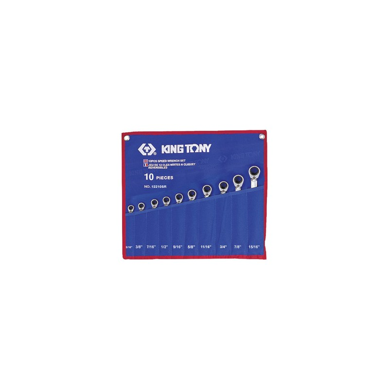 Trousse de clés mixtes à cliquet pouces - 10 pièces - 12210SR