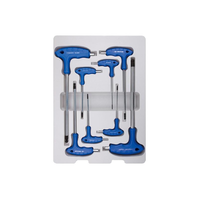 Thermoformé de clés mâles 6 Pans à poignée en l avec tête sphérique - 22108MR