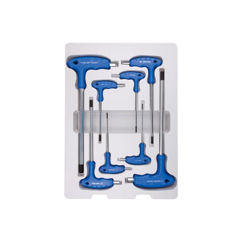 Thermoformé de clés mâles 6 Pans à poignée en l métrique - 8 pièces - 22208MR