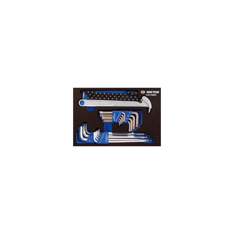 Plateau Evawave de clés mâles 6 pans. Torx et clé à filtre - 19 pièces - 920119MRE