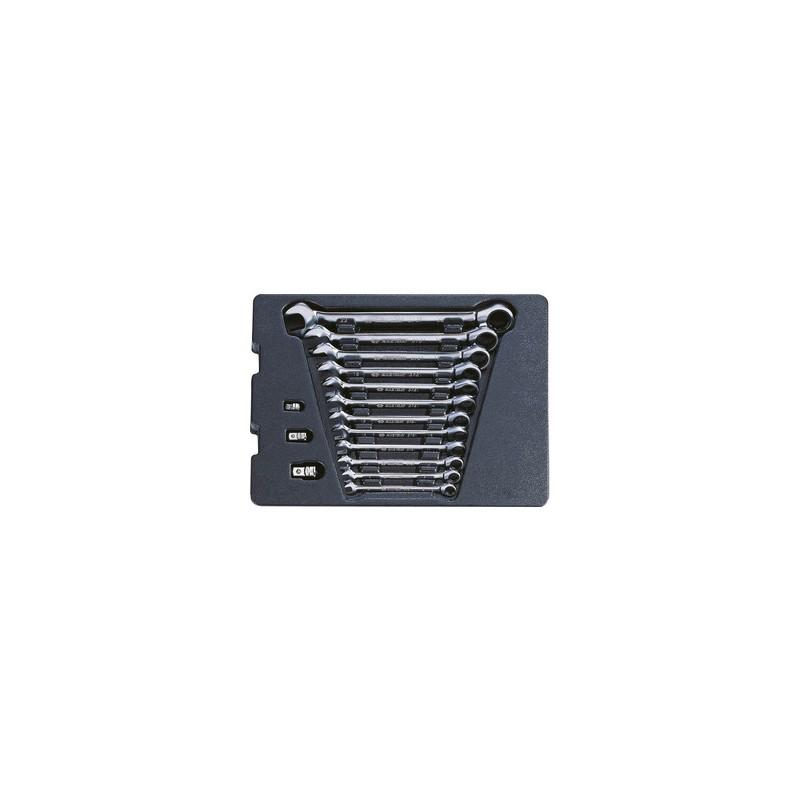 Thermoformé de clés mixtes à cliquet non réversible - 15 pièces - 910115MR