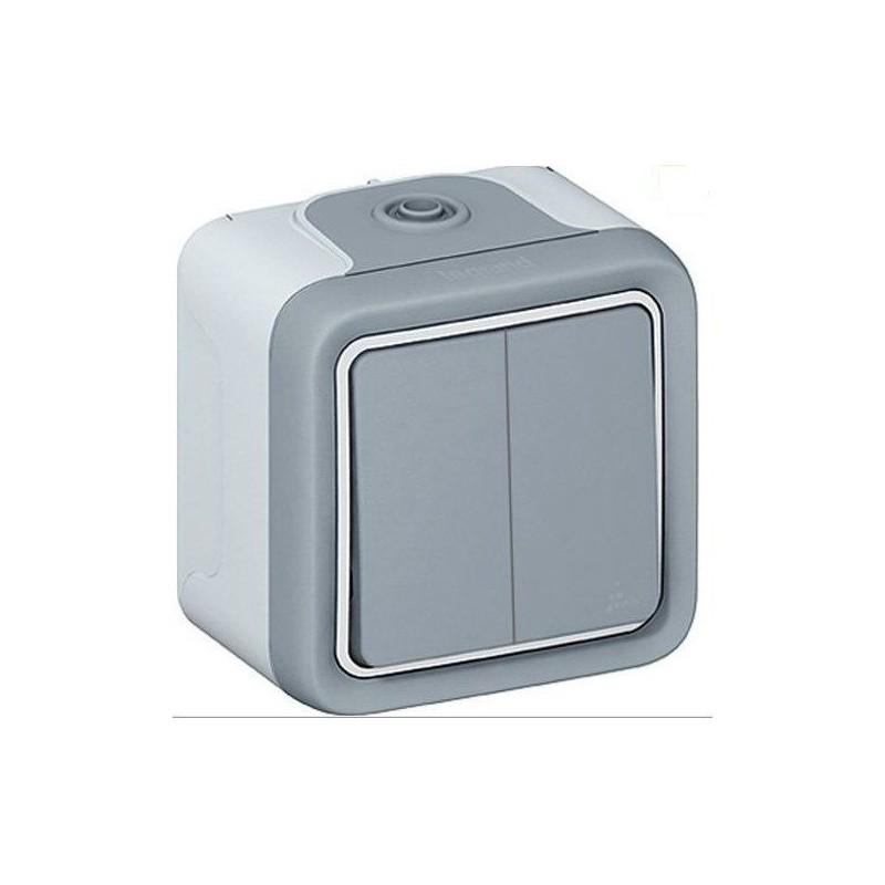 Interrupteur double va et vient 10 ampère Plexo gris Legrand