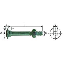 Boulon TRCC 8x 90 mm acier zingué din 603555