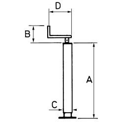 Béquille avec fixation réglable verticale carré 70 mm