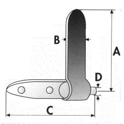 Charnière de ridelle 320x33 mm complète