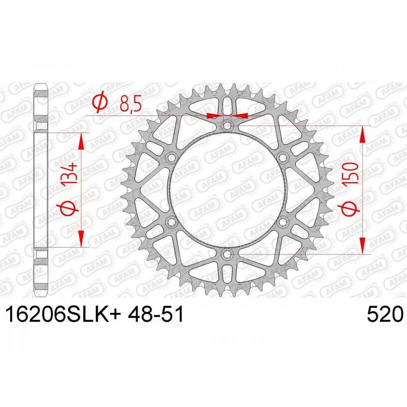 COURONNE AFAM ACIER SLKKAWASAKI KX/KX-F 51D - 16206SLK - 520