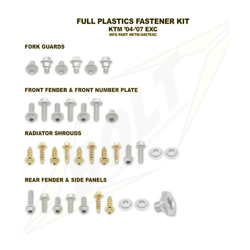 BOLT KIT VIS PLAST. KTM04-07 EXC