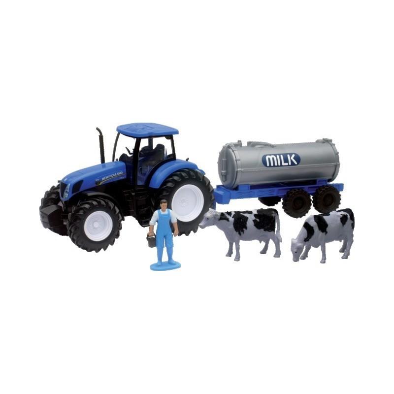 Tracteur New Holland T7.270 avec citerne à lait et personnage