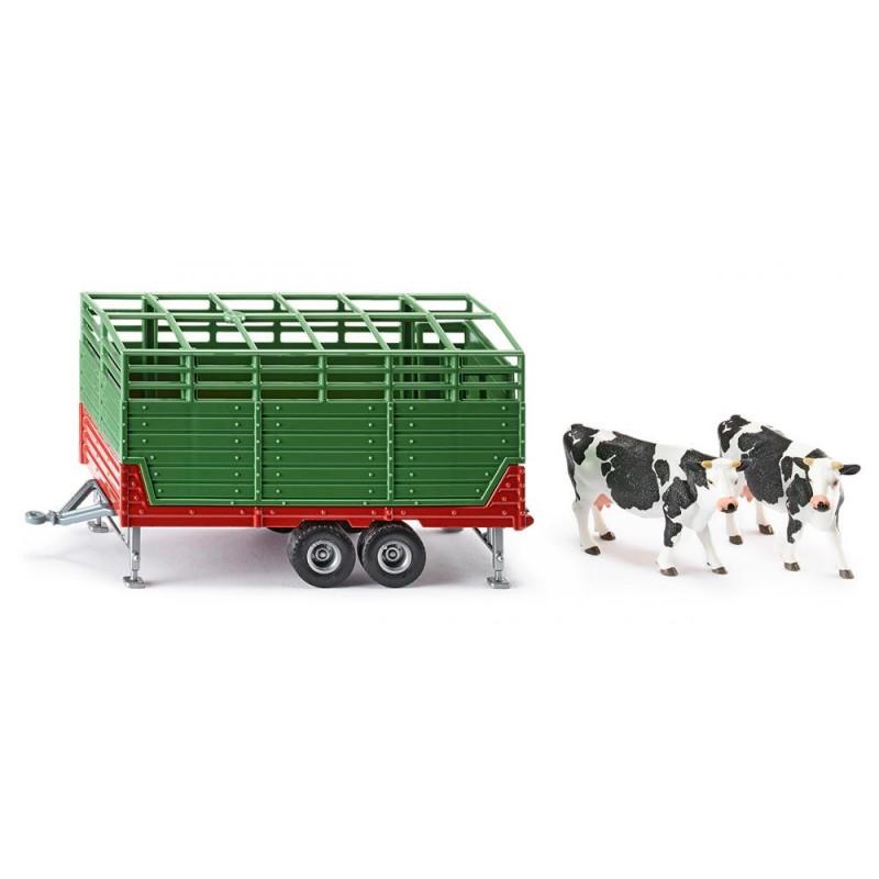 Remorque bétail avec deux vaches