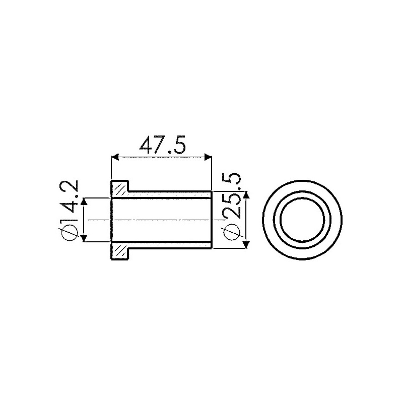 ENTRETOISE 25,5X14,2 LG 47,5mm AD BOMFORD