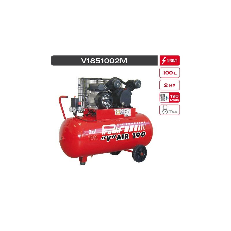 "Compresseur 100 litres monophasé bicylindres ""V"" fonte 2 cv 15m3"