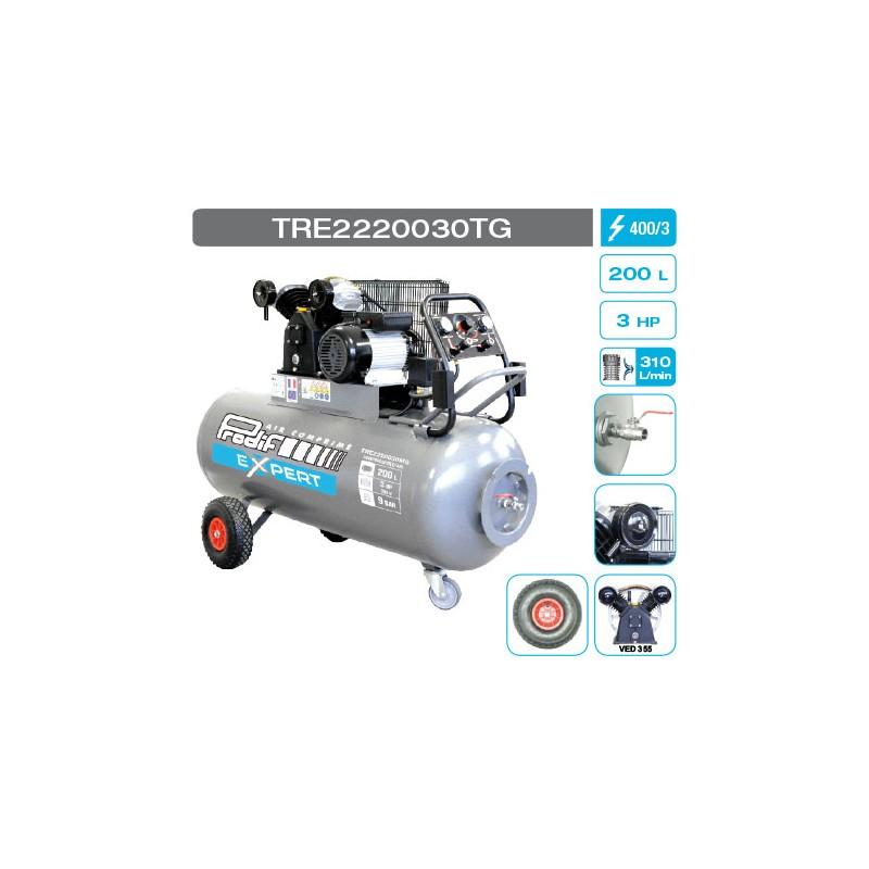 Compresseur 3 cv 200 litres 9 bars tri bicylindre V (mn)