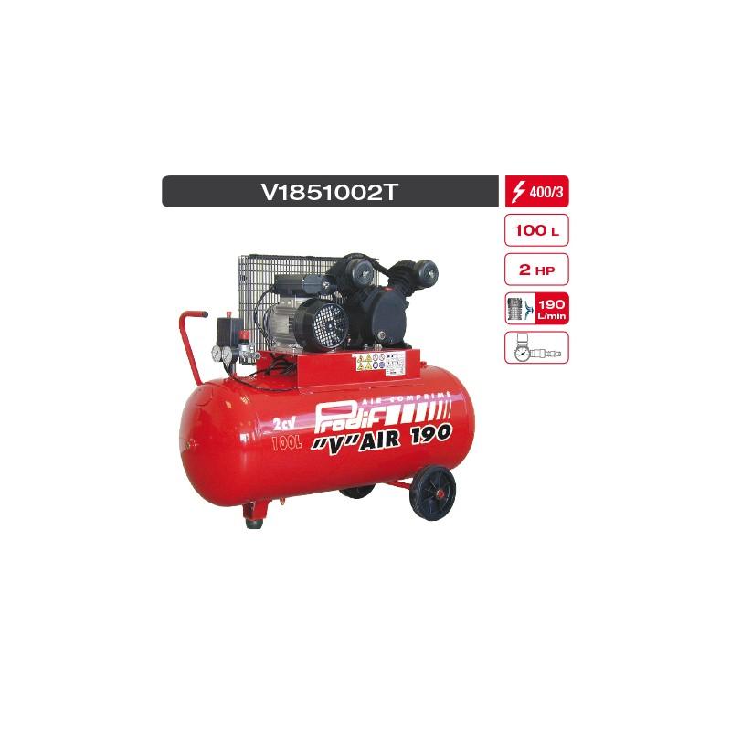 """Compresseur 2 cv 100 litres 10 bars bi-cylindres en """"V"""" 400 V"""