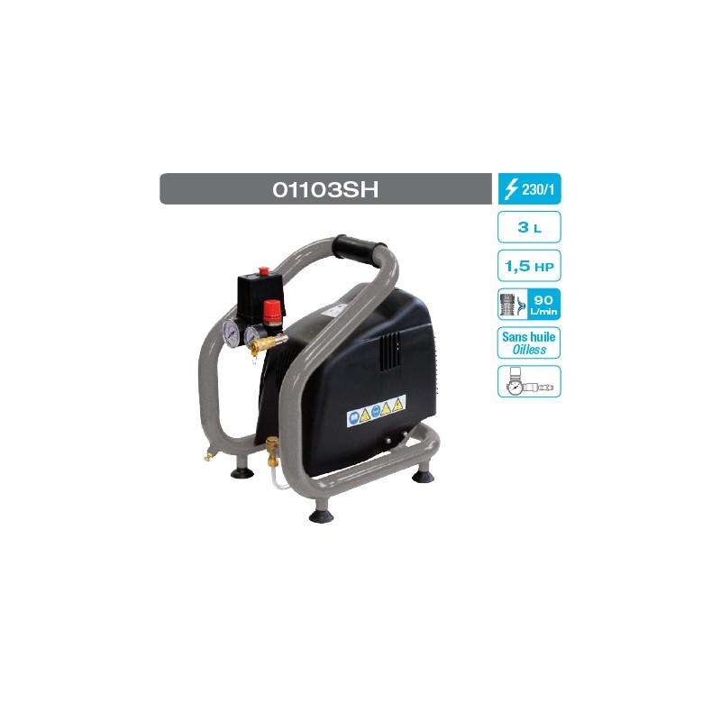 Compresseur sans huile coaxial 1.5 cv 3 litres mono 12m3 8 bars