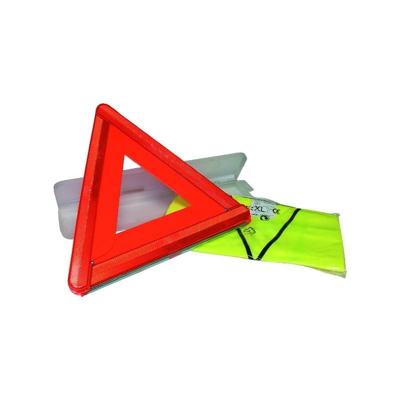 KIT DE SECURITE TRIANGLE+GILET FLUO XL